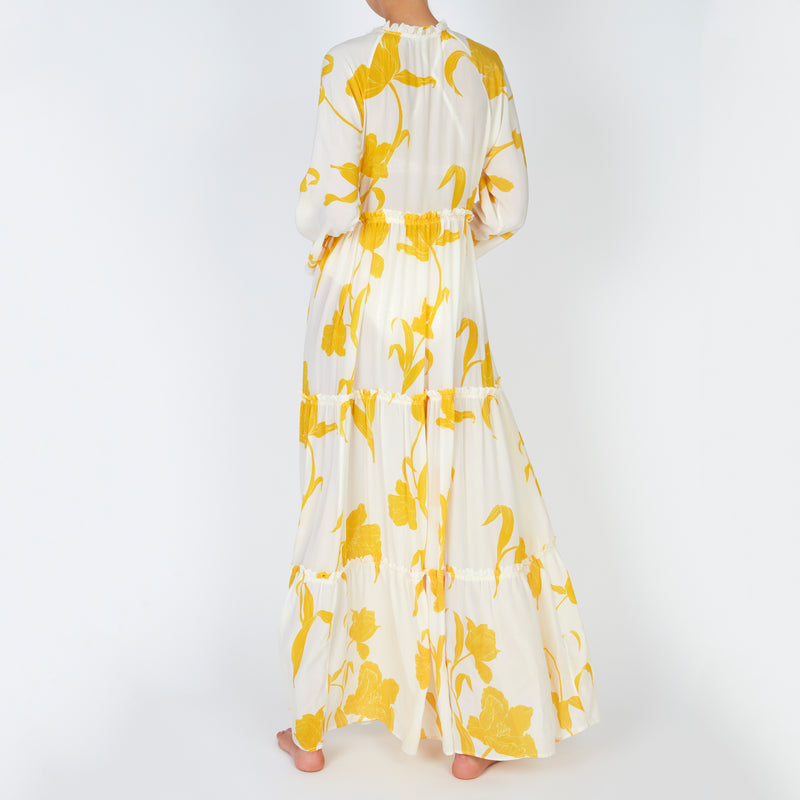 EVARAE Talia Maxi Dress in Flower of Joy Creme Silk Tiered Skirt and Ruffle Detail SS20 Back