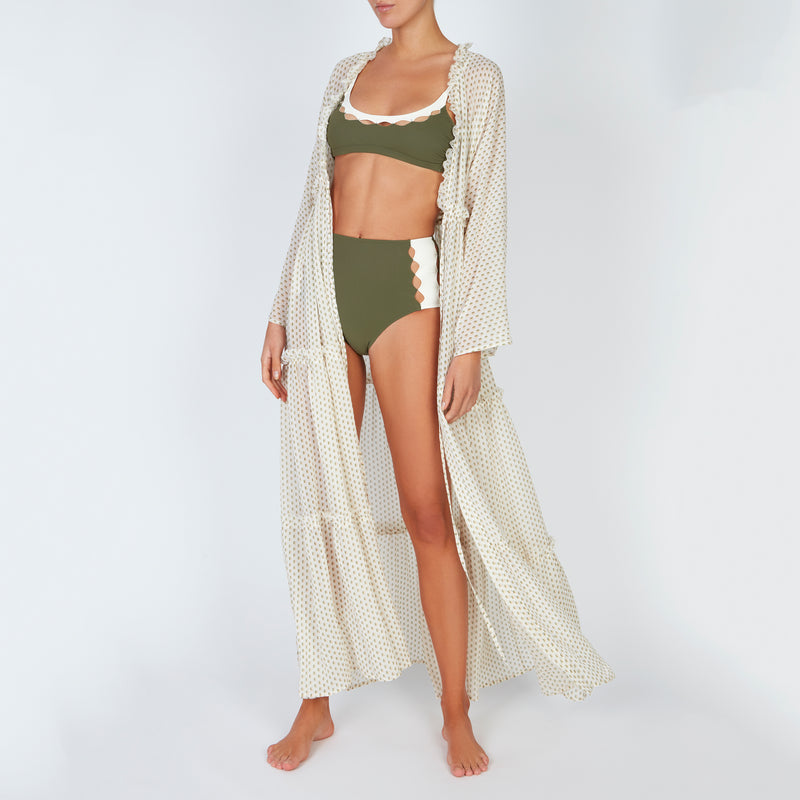 EVARAE Talia Maxi Dress in Mini Dot Sage. Silk Tiered Skirt and Ruffle Detail SS20 with Rei Top Roxanne Bikini Bottoms