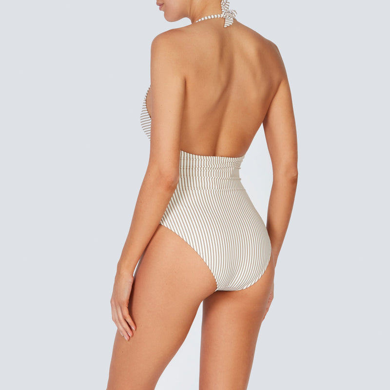 EVARAE Thalia Swimsuit Plunge Neckline Cut Out Detail Seersucker Stripe Ice Mocha SS20 back