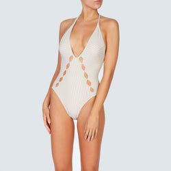 EVARAE Thalia Swimsuit Plunge Neckline Cut Out Detail Seersucker Stripe Ice Mocha SS20 front