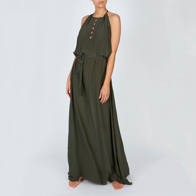 EVARAE Tulla Diamond Cut Front detail maxi dress with belt and elegant high neck. Sage green. SS20
