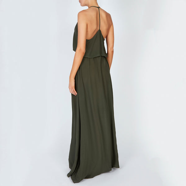 EVARAE Tulla Diamond Cut Front detail maxi dress with belt and elegant high neck and T bar open back. Sage green. SS20
