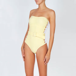 EVARAE Uri Swimsuit in Citrus Stripe. Cut out detail, belt and removable straps. SS20