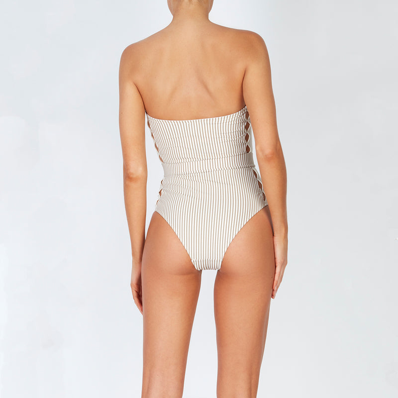 EVARAE Uri Swimsuit in Ice Mocha Stripe. Cut out detail, belt and removable straps. SS20 Back