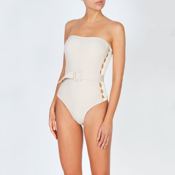 EVARAE Uri Swimsuit in Ice Mocha Stripe. Cut out detail, belt and removable straps. SS20
