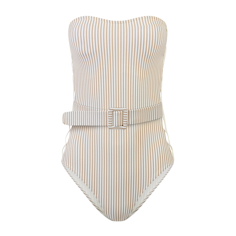 EVARAE Uri Swimsuit in Ice Mocha Stripe. Cut out detail, belt and removable straps. SS20 Product
