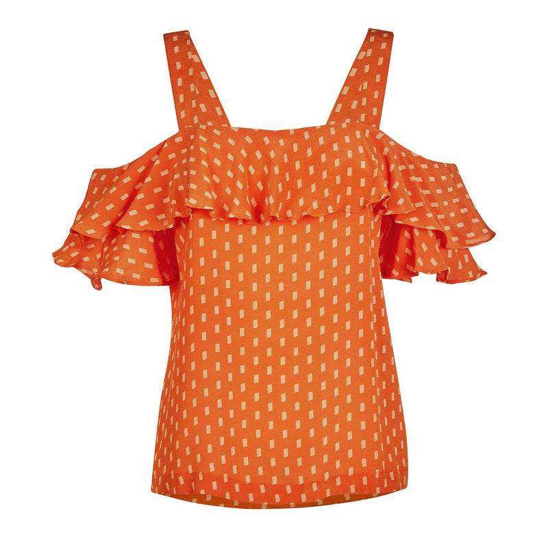 EVARAE Vali Ruffle Silk Summer Top in Apricot Dot Resort20 Product