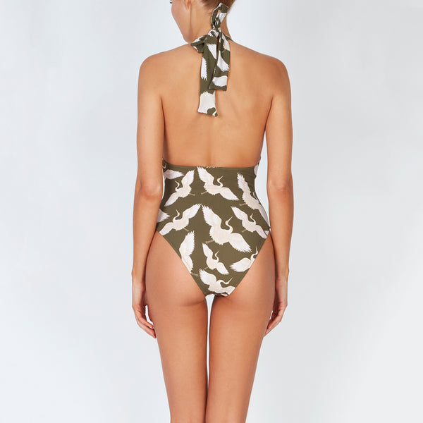 EVARAE Verity Swimsuit with Bow ties in Bird of happiness sage. Summer SS20 Back