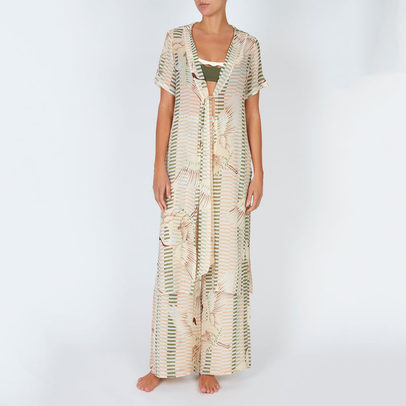 EVARAE Yani Short Sleeve Cover Up in bird of happiness sage. SS20