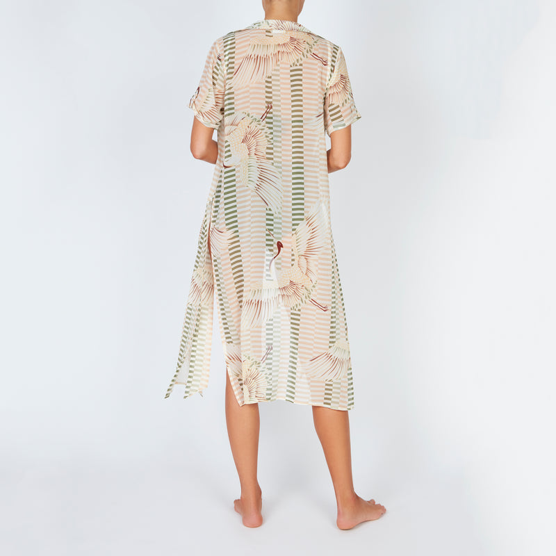 EVARAE Yani Short Sleeve Cover Up in bird of happiness sage. SS20 Back