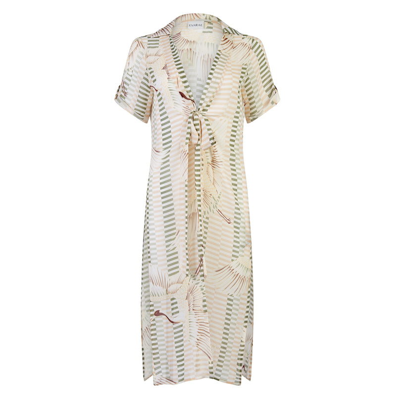 EVARAE Yani Short Sleeve Cover Up in bird of happiness sage. SS20 Product