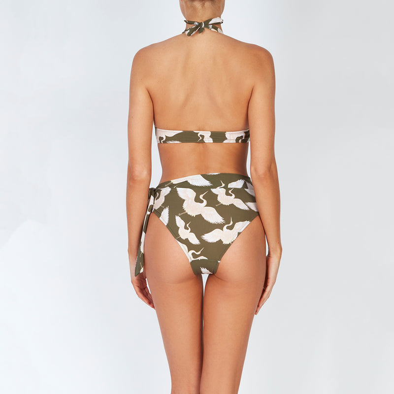 EVARAE Yasmeen Bikini Bottoms. High waist, side tie. Bird of happiness sage. SS20