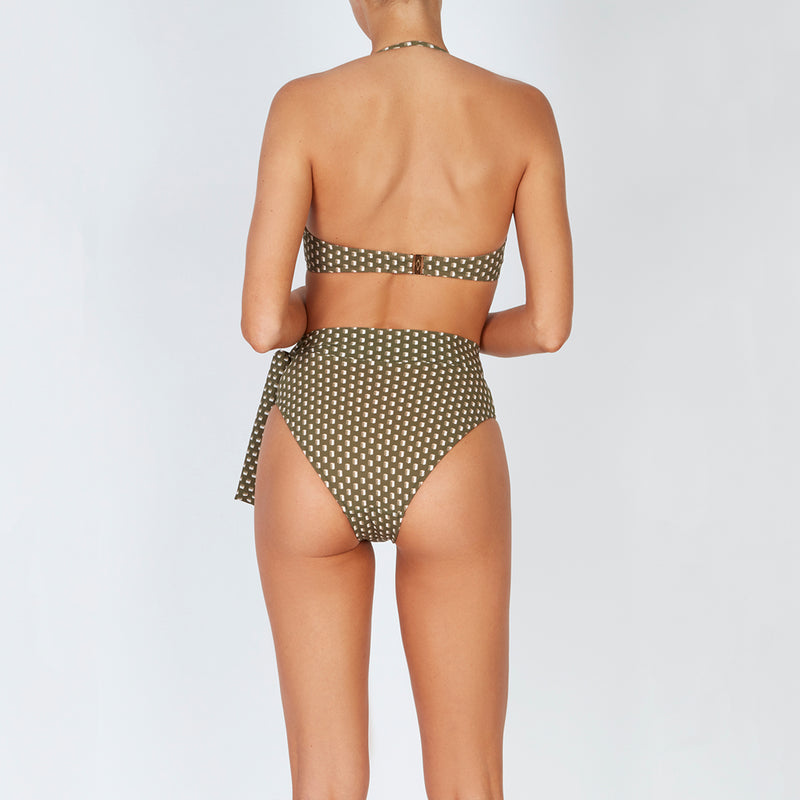 EVARAE Yasmeen Bikini Bottoms in Diamond Dot sage with side bow in silky sustainable fabric. Resort 20 back