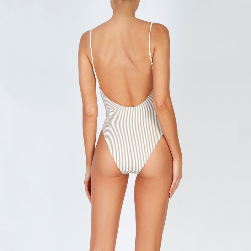 EVARAE Yoli Swimsuit Flattering Shape. Side cut out detail and open low back in Ice Mocha Stripe. SS20 Back