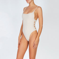 EVARAE Yoli Swimsuit Flattering Shape. Side cut out detail and open low back in Ice Mocha Stripe. SS20