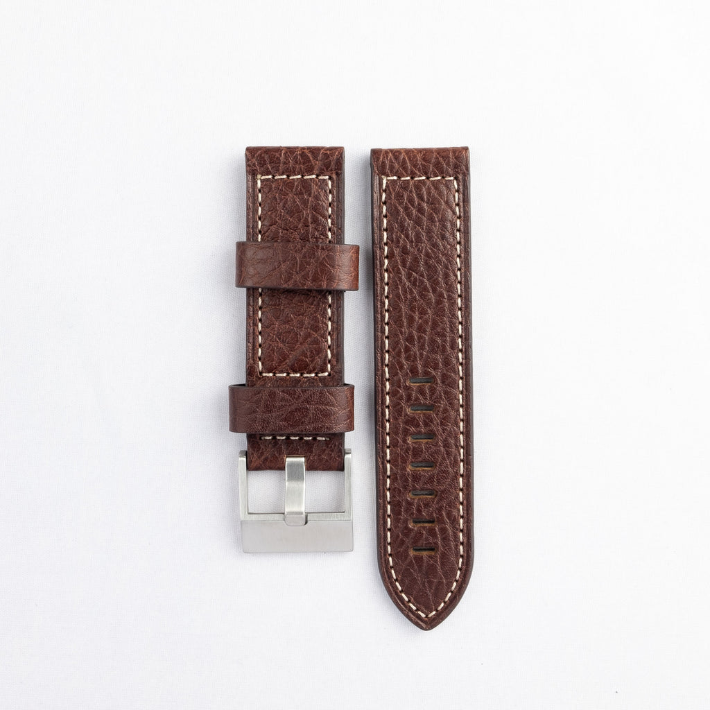 Heavy Flat Stitched Buffalo Grain Leather Strap