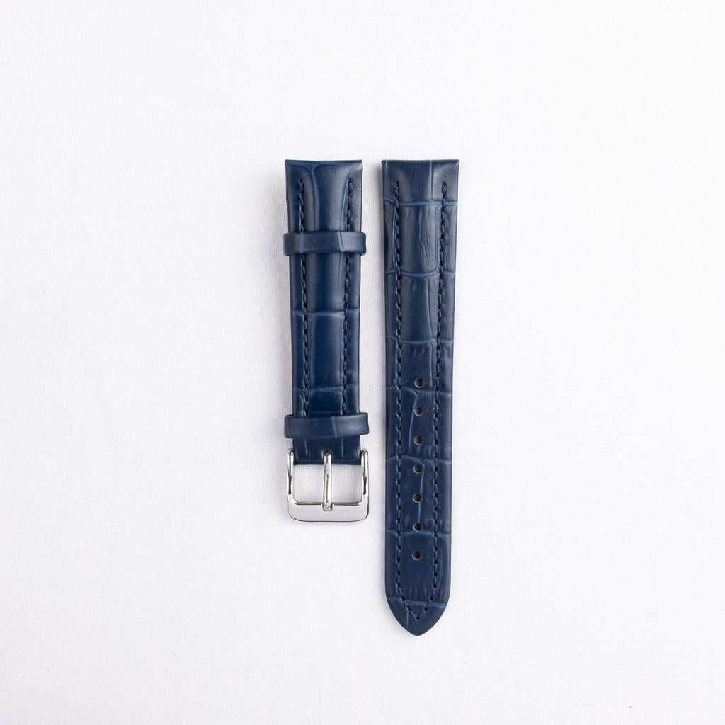 Padded Stitched Alligator Grain Leather Strap