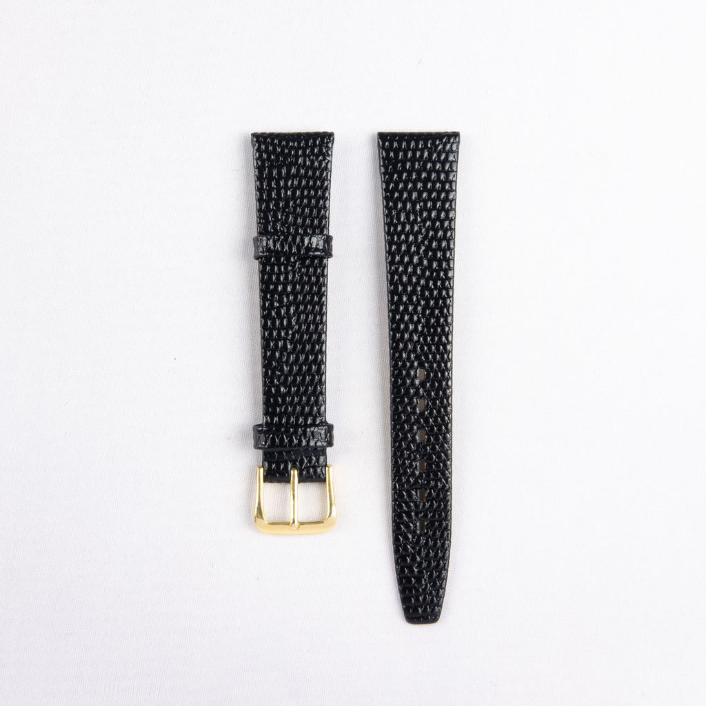 Flat Lizard Grain Calf Leather Strap