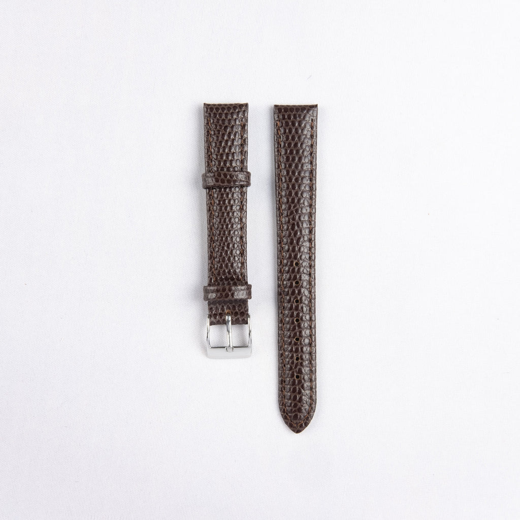 Padded Stitched Lizard Grain Leather Strap