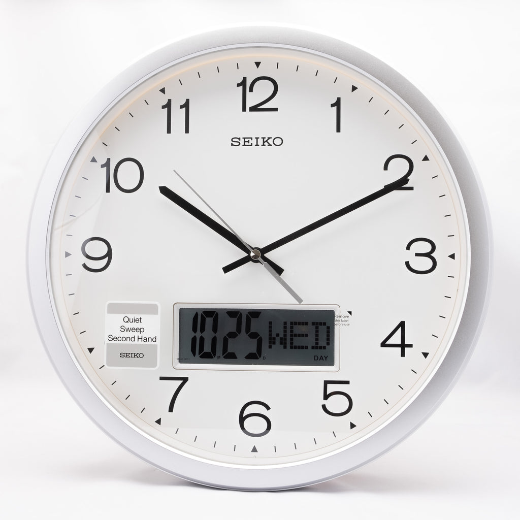 Seiko QXL007S Wall Clock with Digital Display