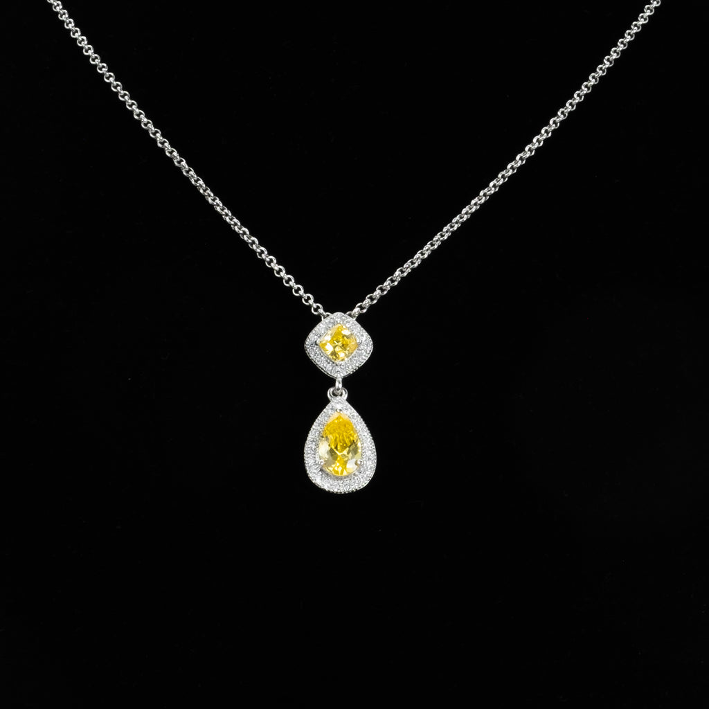 925 Sterling Silver Synthetic Yellow Canary Diamond Pendant with CZ