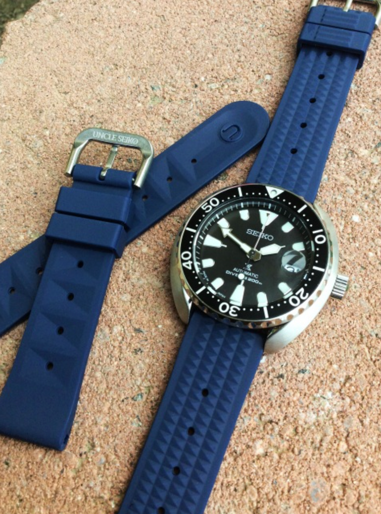 Uncle Seiko Waffle Strap for Diver Watch Blue