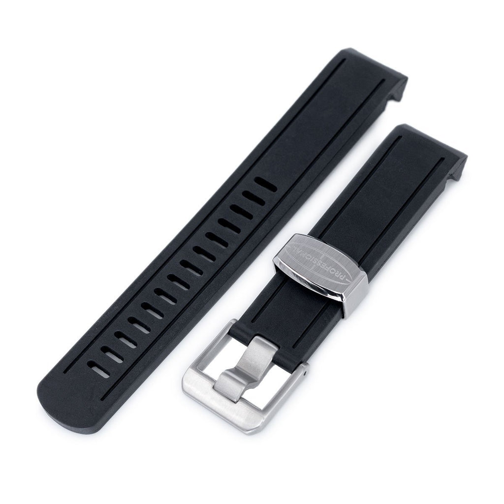 Crafter Blue - Black Rubber Curved Lug Watch Band for Seiko Sumo