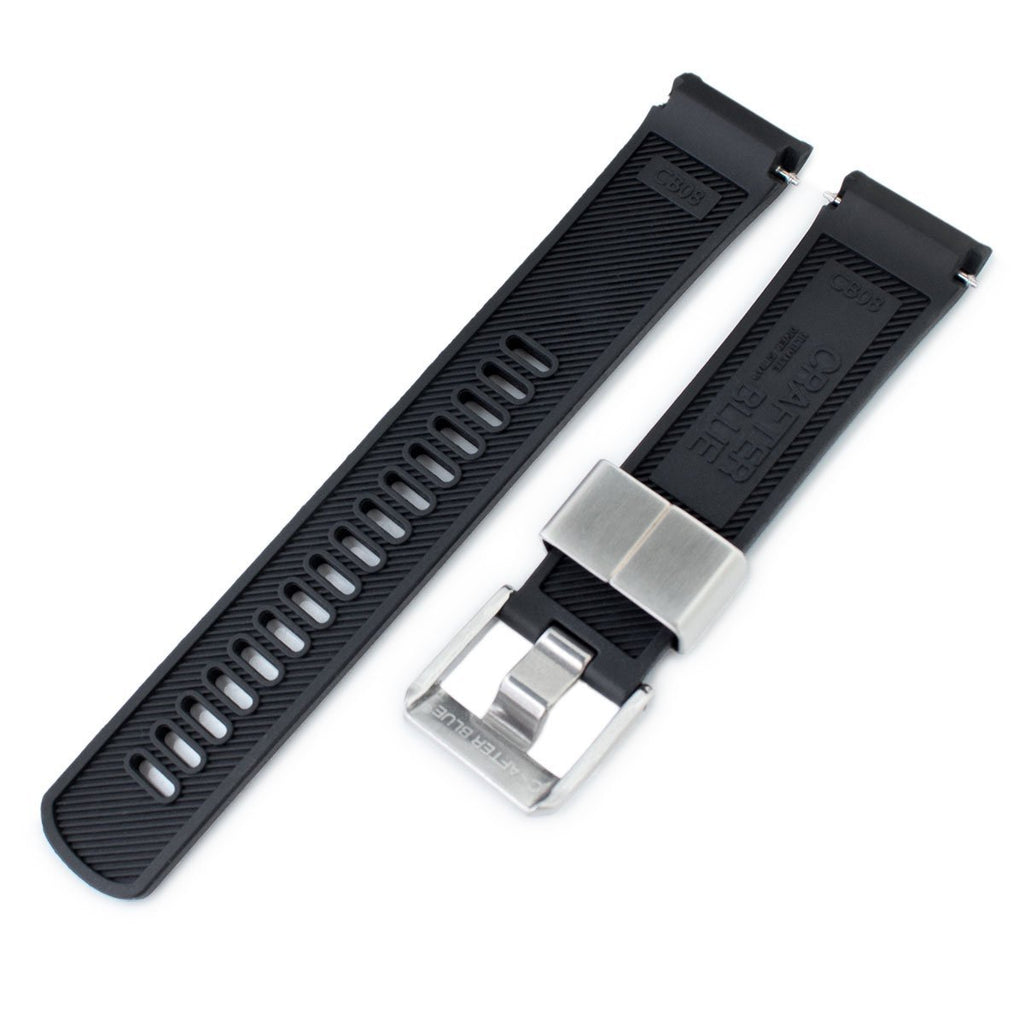 Crafter Blue - Black Rubber Curved Lug Watch Band for Seiko Turtle