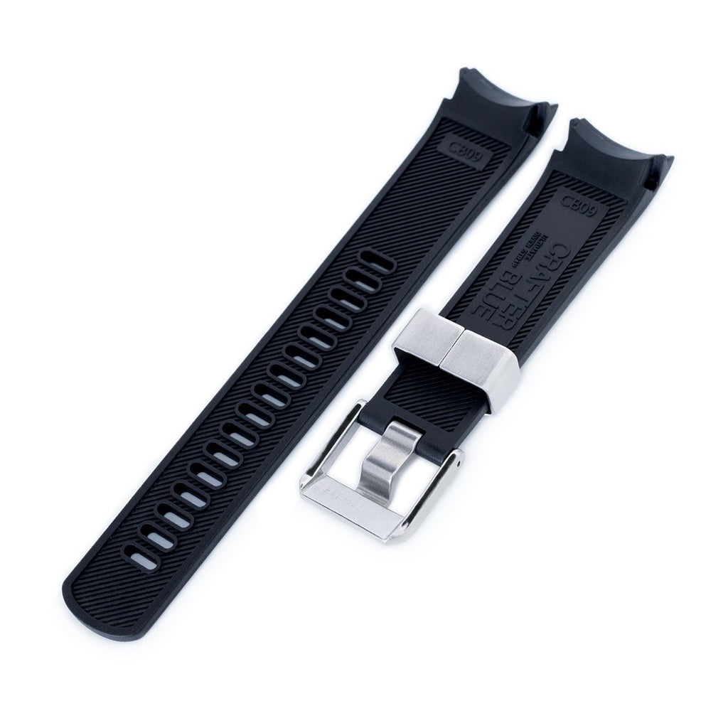 Crafter Blue - Black Rubber Curved Lug Watch Band for Seiko Samurai