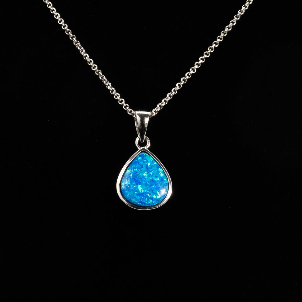 925 Sterling Silver Synthetic Blue Opal Pendant
