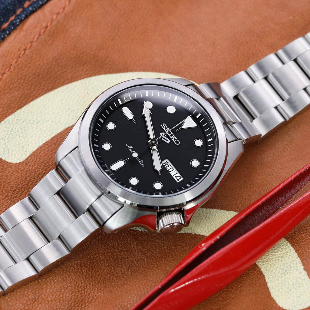 Super-O Boyer Stainless Steel Watch Band for New Seiko 5 SRPE
