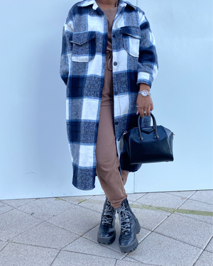Lexi Long Blue Plaid Over-shirt Jacket