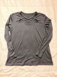 Black Long Sleeve Cage Top