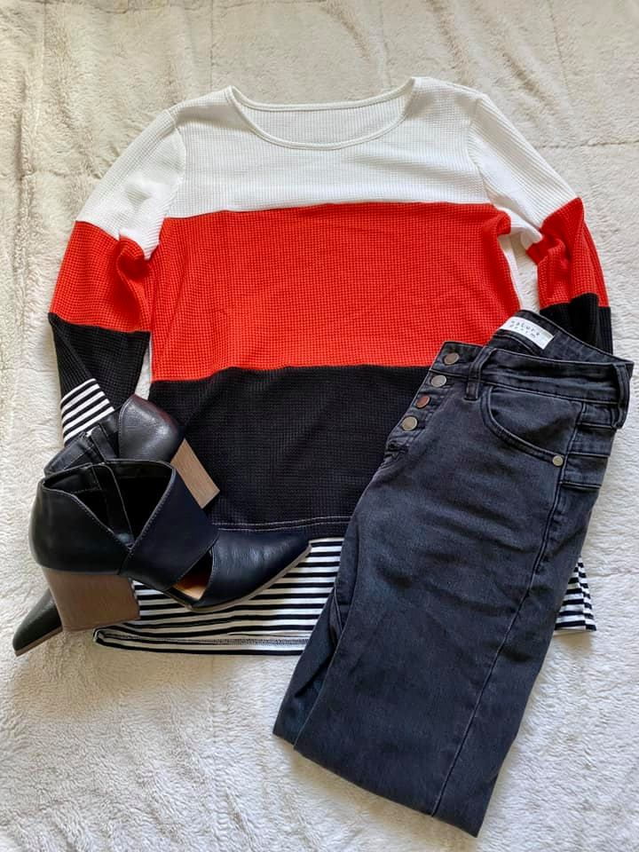 Waffle Knit Color Block