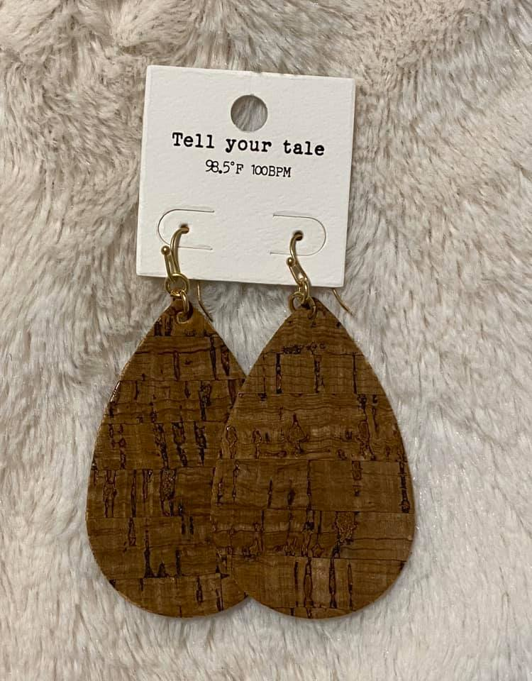 Tear Drop Cork Earrings- Brown