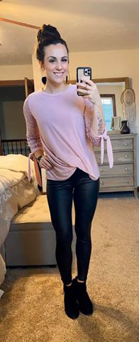 Lace Sleeve Bubble Top