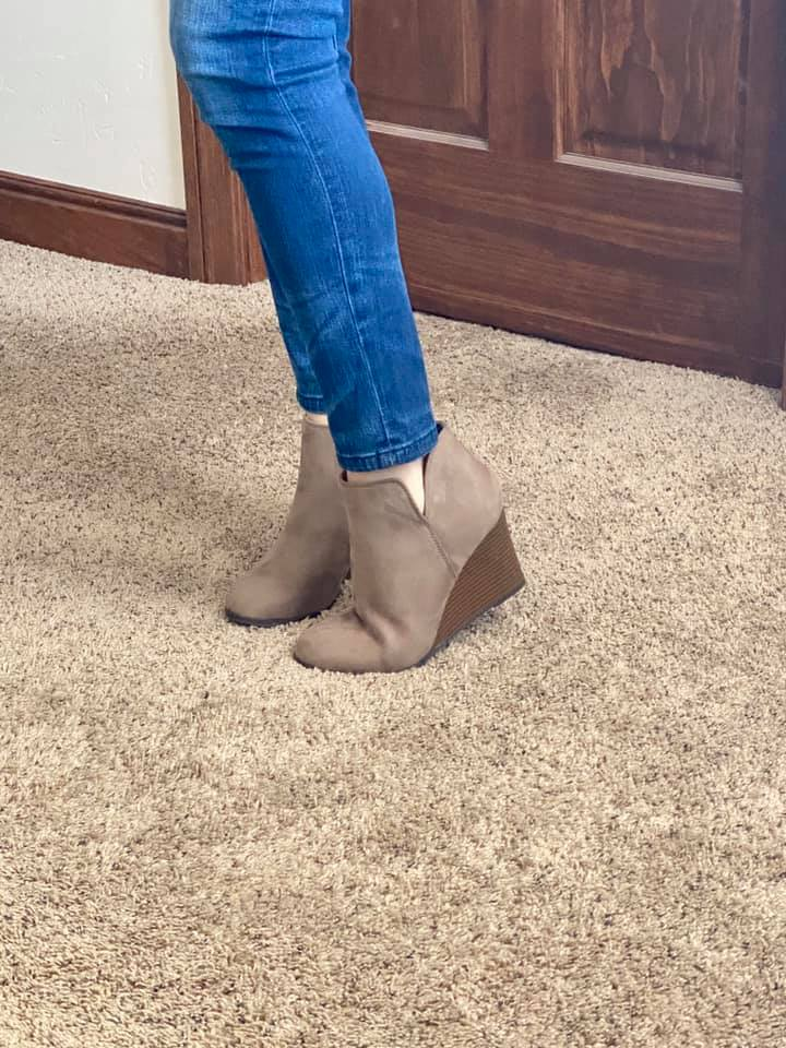 Tan Suede Wedge Bootie