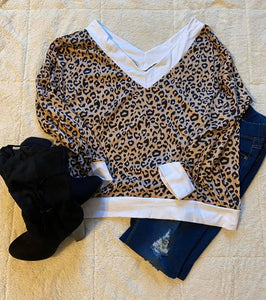 PLUS White Leopard V Neck Sweater
