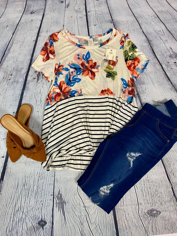Floral Stripe Knot Top