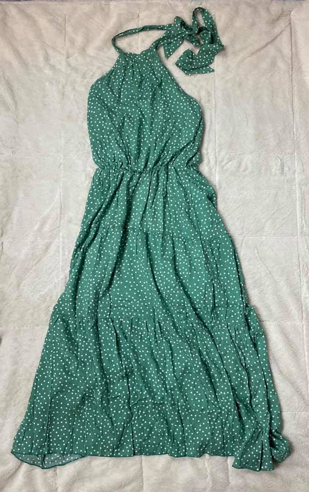Mint Polka Dot Halter Dress