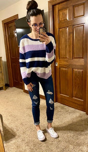 Navy + Lavender Striped Dolman Sweater