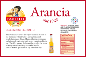 Paoletti Aranciata drink nutritional facts