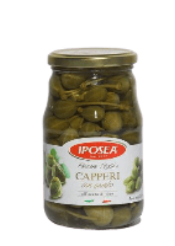 A jar of Iposea Capperi - Capers with stem