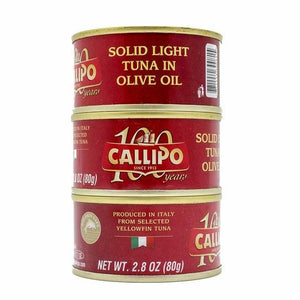 Callipo Solid Light Tuna in Olive Oil, Yellowfin, 2.8 oz pack of 3 cans.