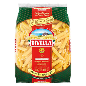 A pack of Divella bronze-executed penne ziti rigate pasta 27, 500g - 17.6 oz