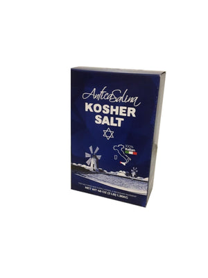 A box of Antica Salina Kosher Salt 48oz