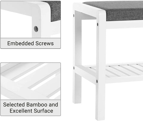 STABLE & ROBUST: Heavy-duty bench top made of 100% natural bamboo plank RENEWABLE & NATURAL Bamboo wood is as durable as solid beech or maple wood; damp-proof coating makes it easy to clean; smooth edges and sunken screws prevent snagging shoe bench and storage: fits your hallway, closet, living room, Bedroom, bathroom, patio or kitchen High quality bamboo shoe bench with a great value Bamboo Shoe Bench Rack With Padded Seat