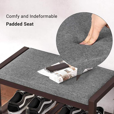 """It turns out that you can wear shoes comfortably and with style.  With this entry bench, you can enjoy quality upholstery and maximum comfort.  Forget about the hard, stone-like stools and try this comfortable shoe bench! It comes with 1"""" thick padding to ensure enjoyable sitting while you change shoes."""