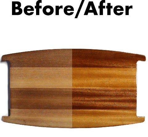 before and after using cutting board oil