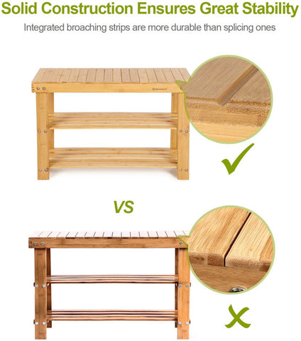 STABLE & ROBUST: Heavy-duty bench top made of 100% natural bamboo plank RENEWABLE & NATURAL Bamboo wood is as durable as solid beech or maple wood; damp-proof coating makes it easy to clean; smooth edges and sunken screws prevent snagging shoe bench and storage: fits your hallway, closet, living room, Bedroom, bathroom, patio or kitchen High quality bamboo shoe bench with a great value